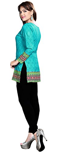MapleClothing Maple Clothing kurti tunica top stampato Womens camicetta indiani vestiti verde