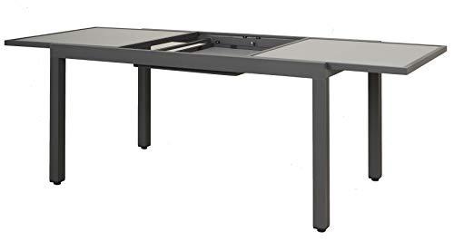 Ambientehome Hochwertiger Aluminium Ausziehtisch mit Glasplatte 160-220 x 90 cm Farbe: grau Gartentisch Terrassentisch 50208,