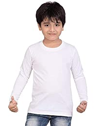 Printmate Plain Casual White Graphic Printed Cotton Round Neck Kids Unisex Girls & Boys Full Sleeve T-Shirt