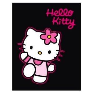 (Hello Kitty Decke Vliesdecke ca. 125 x 160 cm schwarzem Hintergrund - super flauschig)
