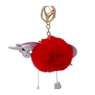 ANKKO Cute Fluffy Unicorn Pendant Key Chain Keyring Handbag Car Decoration Gift