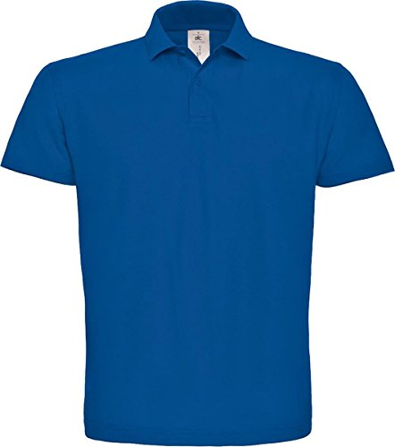 B & C ID. 001Short Sleeve Polo Shirt Herren Casual Wear 2Button Baumwolle Tee Top Blau - Königsblau