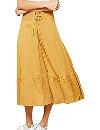 e122ceae49 Falda A Media Pierna De Mujeres Clásico del con Verano Las Vendaje Chicos  Moda Playa Una Línea Faldas De Vacaciones Elegante Falda…