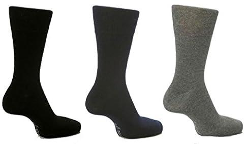 Gentle Grip Chaussettes pour homme Uni Par Sock Shop Motif nid d'abeille amovible avec large haut-Lot de 6, - Black / Navy / Grey, XXL