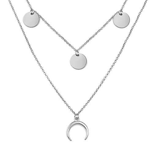 SHINE & WANDER Tiny Island Moon Necklace Bundle | Layered Damen Edelstahl Halskette mit Plättchen und Mond Anhänger (Silber)