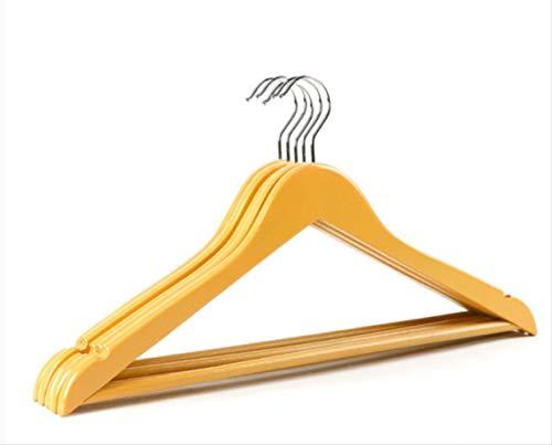 FREEWYJD Bunte Ahorn-Kleiderbügel Familie Anti-Rutsch-Anzug Holz Aufhänger Mit 360-Grad-Drehhaken, Schulterlangen Aufhänger, Verchromte Kerbe 1 Satz Von 10 38X20Cm Gelb