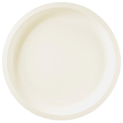 Collezione rotondo piatto, plastica, bianco, grande, confezione da 25, Bianco