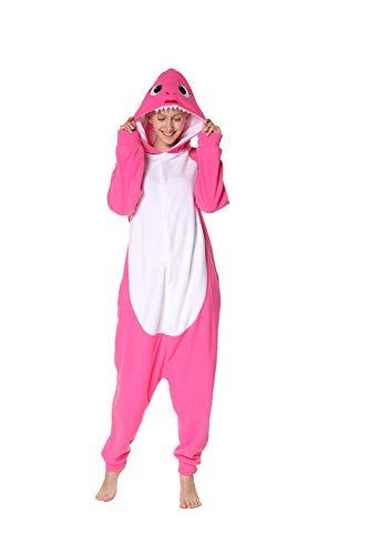 dressfan Strampler Adult Unisex Tierhai Overall Cosplay Kostüm Halloween Weihnachten Pyjamas (Shark Kleid Für Erwachsene Kostüm)