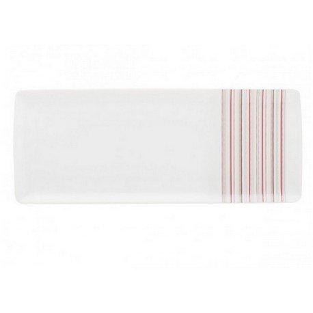 DEGRENNE - Plat Rectangulaire, Porcelaine, Framboise 40x16 cm
