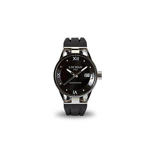 Montre Locman Montecristo 0521V05-gubk00sk au quartz (Batterie) acier Quandrante Noir Bracelet Silicone