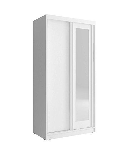 Kleiderschrank mit Spiegel Schrank Gaderobe Schiebtüren mit Mono (Weiß, 100 cm)