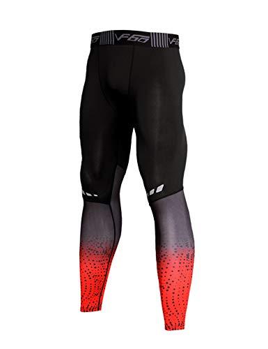 Musclealive Hombres Gimnasio Culturismo Compresión Leggins Medias Rutina de Ejercicio Aptitud Pantalones Capa Base Fresco y seco