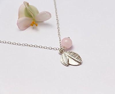Collier feuilles argent massif 925 - Collier perle de verre rose pastel - chaîne argent - feuille d'argent collier - délicat poétique