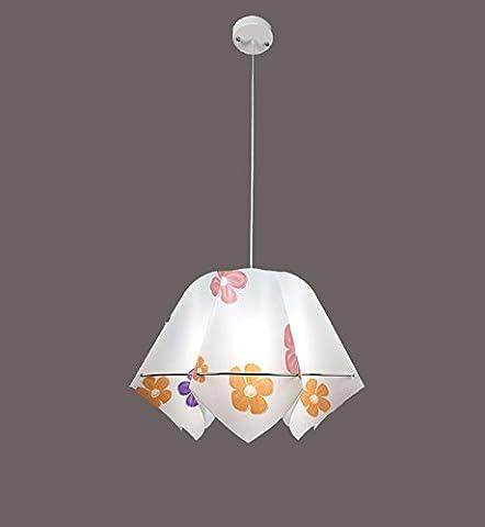 GRFH Neue Ideen für moderne kreative Pvc Single Head Restaurant Pendelleuchten Octagonal Lampenschirm Farbe Kinderzimmer Kronleuchter E27 Durchmesser 40Cm Falten Manuell , roses red