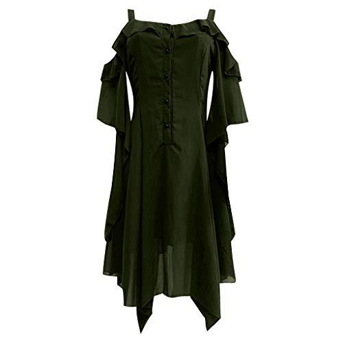 BHYDRY Damenmode Dark In Love Rüschenärmel Schulterfrei Gothic Midi-Kleid(Small,Grün)