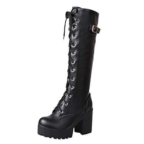 MakefortuneWomens Ladies Boots 9.5cm High Block Heel Lace up Knee high Calf Biker Army Military Boots Platform Shoes Size 3-8 (High Heels High Knee Heel)