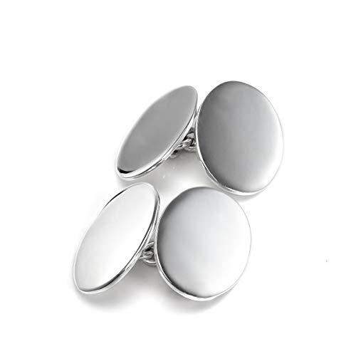 Sterlingsilber doppelseitige ovale Manschettenknöpfe