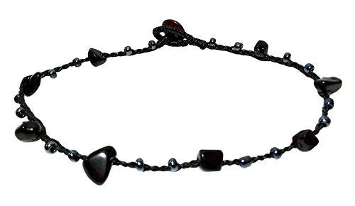 bdj-hecho-a-mano-negro-piedra-cristal-bead-cord-tobillera-pulsera-10-pulgadas