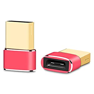 YuanNa USB-Typ-C-Buchse auf USB-Typ-A-Stecker Konverter-Adapter-Anschluss Funktioniert mit Laptops Ladegeräte Mehr Geräte Rot