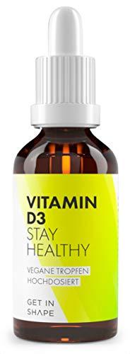 Vitamin D3 Tropfen Vegan, Laborgeprüft, 50 ml (D 3 Tropfen Hochdosiert) in MCT-Öl - 1000 IE (25 µg) hergestellt in Deutschland von GET IN SHAPE
