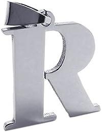 KONOV Joyería Collar con Colgante de hombre mujer, Cadena 45-65cm, Letra R, Charms Nombre, Circonita, Acero inoxidable, Color plata (con bolsa de regalo)