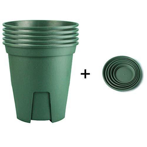 GOPG Kunststoff Blumentopf, Atmungsaktiv Verdicken (5 Blumentopf + 5 Tablett) Pflanz Topf Behälter Geeignet für Indoor & Draußen-Blumentopf+Tablett-15x10.6x15Cm(6x4x6Zoll) (4x6-kunststoff-behälter)
