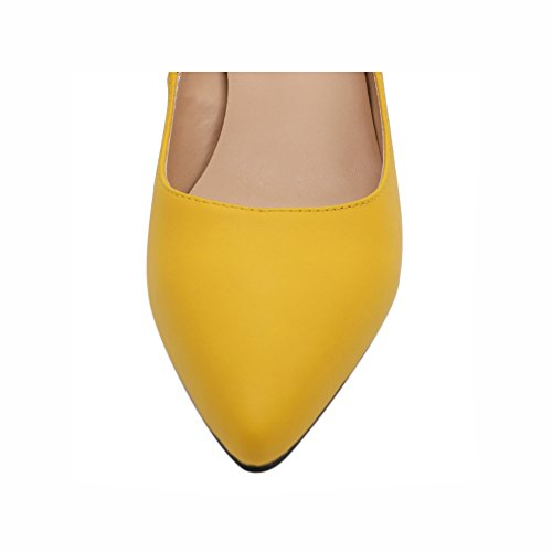 Damen Thin Low Toe Pumps Sexy Pointed matt Gelb Dress Heel Shoes Eks Sxq7UU