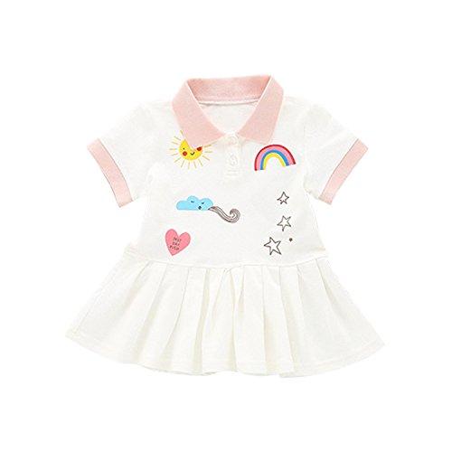 Kurzarm Kleider Polo-Shirt Kindermode Cartoons Druck Sommerkleider Faltenrock mit Regenbogen Sonne Stern Print (Mädchen Weiße Sonne Kleider)