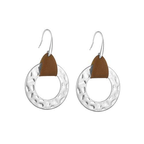 Cdrox 1 Forma par de Chicas Redondo único cuelga los Pendientes de Las Mujeres de Cobre Simple del oído Pendientes de Cuero Tacos de PU de la Vendimia
