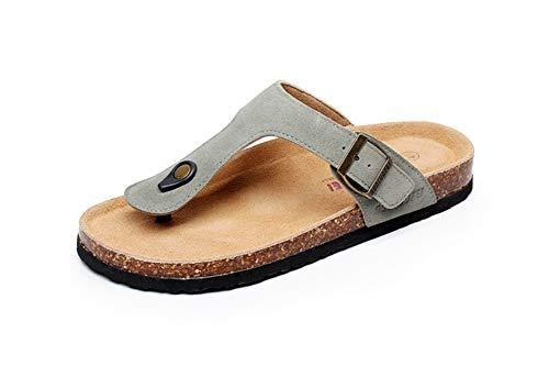 Leder Pantoffeln Sandalen Damen Zehentrenner Kork Herren Schuhe Flach Flip Flops (grün,40/41 EU,25.5CM Ferse zum Zeh,41 Herstellergröße -