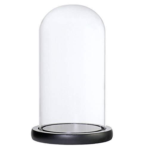 lasglocke Glashaube Glaskuppel Glasabdeckung mit Holzsockel - Schwarzes D ()