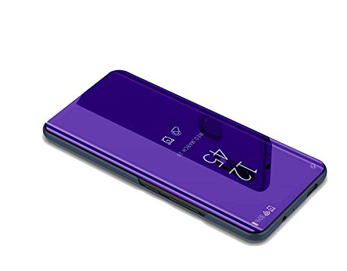 DIFE Translucent View Mirror Flip Electroplate Stand Case Cover for Samsung  Galaxy A8S - Purple