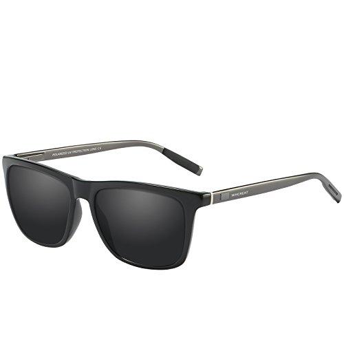 WHCREAT Unisex Retro Polarisierte Sonnenbrille Vintage Mode Design Fahren Ultraleicht Spiegel Linse für Herren und Damen - Waffen Arme Schwarze Linse