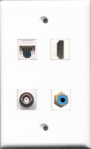 riteav (1Port HDMI-Port und zu 1Port BNC und 1-Port Cat5e Ethernet-weiß, Teller, RCA, Blau Gang 4-port-wall Plate