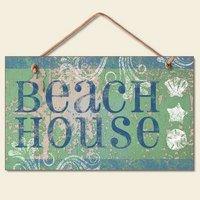 NEW Maison de la Plage avec texte en anglais Coastal décoratifs pour mural Seashell Sign
