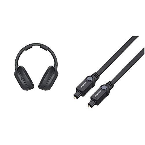 Sony WH-L600 Surround Funkkopfhörer (kabellos, für TV, Sport, Spiele u. Musik, Reichweite bis zu 30 Meter, Cinema Modus) schwarz & AmazonBasics Toslink Optisches Digital-Audiokabel, 1m