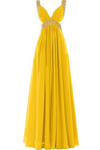 Missdressy Damen Sexy Chiffon Lang V-Ausschnitt Falten Aermellos Abendkleider Partykleider Ballkleider Festkleider Golden