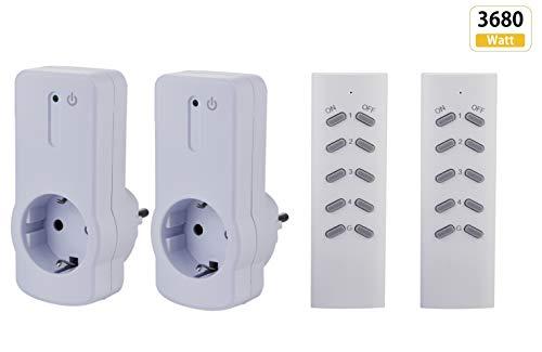 Funksteckdosen Set 2 x Steckdose + 2 x Fernbedienung, LED-Statusanzeige 3680 Watt