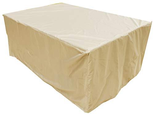 KaufPirat Premium Housse de Protection Bâche Imperméable 220x90x75 cm Couverture de Table de Jardin Housse protectrice pour mobilier de Jardin en Polyester Oxford Beige