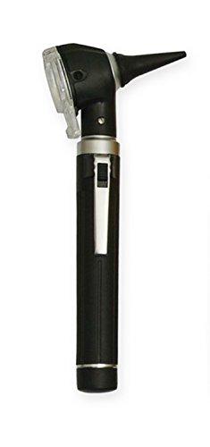 Otoskop, Ohrenleuchte mit Kaltlicht & Tasche, inkl.Batterien, Blau, Pink, Rot, Hellblau, Weiß, Schwarz, Gelb, Grün (Schwarz)