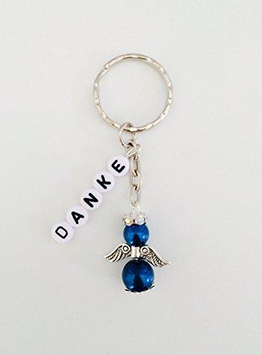 Schlüsselanhänger Schutzengel mit DANKE oder mit Namen personalisiert, Gastgeschenk, Taufe, Hochzeit (blau-klein)