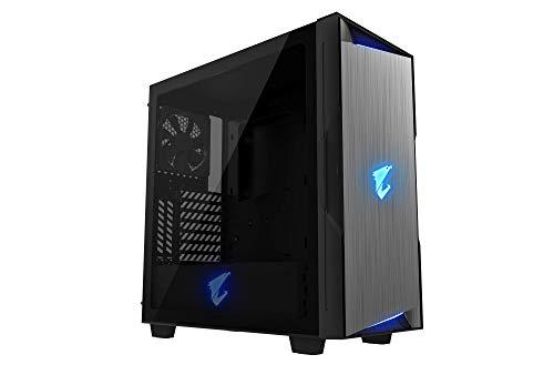 Aorus C300 ATX-Gaming-Gehäuse, getöntes gehärtetes Glas, RGB Fusion 2.0, Upgraded I/O Panel mit USB 3.1 Gen 2 Typ C und HDMI, VR Ready, Wasserkühlung, vertikale GPU-Halterung, Schwarz C300 Usb