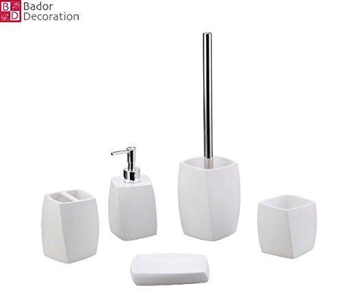 Weiß Serviettenhalter Keramik (5 tlg. Badezimmer Set Bad Set Bürstenhalter Seifenspender Bürstenhalter Weiß neu)