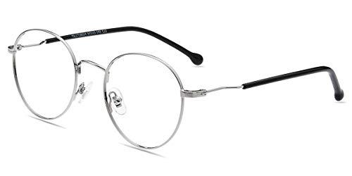 Firmoo Blaulichtblockierende Brille ohne Sehstärke, Anti Blaulicht Computer Brille Blaulichtfilter Brille für Damen Herren, Blendfreie Kratzfeste Gläser, Runde Metallbrille Augenschutzbrille