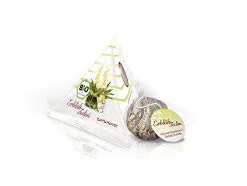 Creano ErblühTeelini Bio Geschenkset mit Teelini Glas-Teetasse, Teeglas | 200ml, 6 ErblühTeelini Teeblumen im Tassenformat