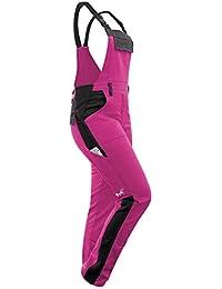 strongAnt® - Damen Arbeitshose Arbeits-Latzhose Stretch für Frauen mit Kniepolstertaschen. Baumwolle Kombihose Pink-Schwarz