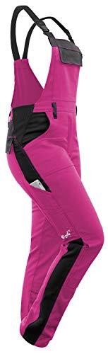 strongAnt® - Damen Arbeitshose Arbeits-Latzhose Stretch für Frauen mit Kniepolstertaschen. Baumwolle Kombihose Pink-Schwarz 18