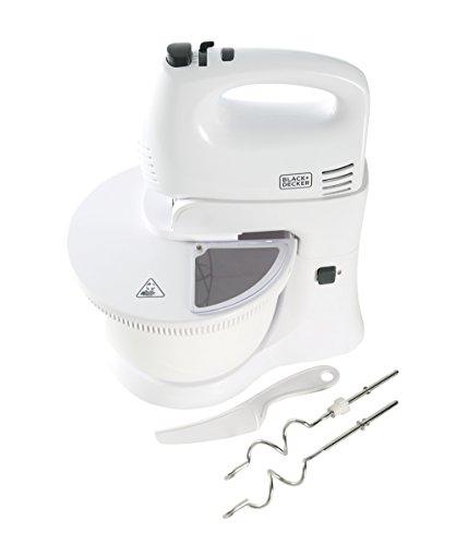 Black+Decker hm300bl-qs agitador Mixer, con bol giratorio, 300W, blanco/gris