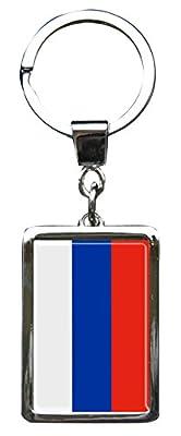 """Premium - Schlüsselanhänger aus Metall """"Russland"""" in gerader Form - tolles Geschenk für Russland - Fans"""