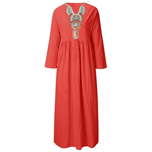 Bellelove Damen Kleider Mode Langarm Frau Kleider lang Sommer Freizeit Lose Klamotten Kleider Sommer Böhmen Tunika Bluse Kleider